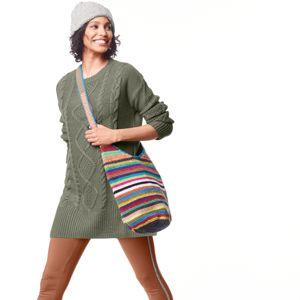 Blancheporte Tunikový pulovr s copánkovým vzorem khaki 38/40