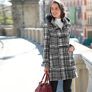 Blancheporte Kabát duffle-coat s potiskem kostky a s kapucí černá/bílá 48