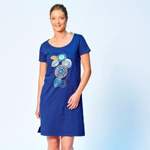 Blancheporte Krátká noční košile s potiskem rozet modrá 52