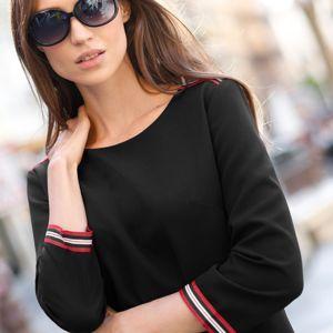 Blancheporte Jednobarevné šaty s lampasy černá 42