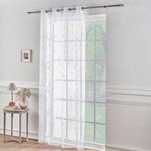 Blancheporte Voálová záclona s efektem krajky bílá 140x145cm
