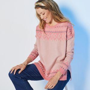 Blancheporte Žakárový pulovr kašmírový na dotek růžová/korálová 52