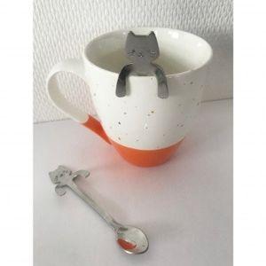 Blancheporte Čajová lžička ve tvaru kočky, sada 2 ks šedá+2xantracitová+2xčerná sada 2ks