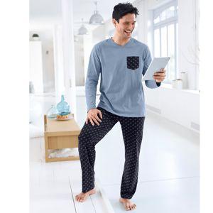 Blancheporte Pyžamo s mikrovzorem, dlouhé kalhoty modrá/nám.modrá 137/146 (4XL)