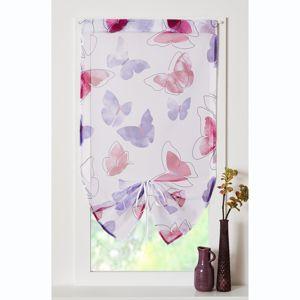 Blancheporte Voálová záclonka s nařasením a motivem Motýlků švestková 45x90cm