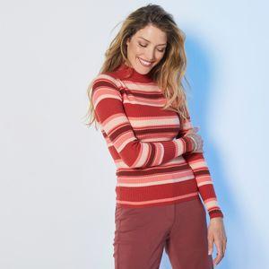 Blancheporte Žebrovaný pruhovaný pulovr s dlouhými rukávy korálová 52