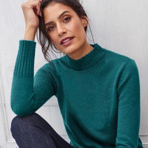 Blancheporte Žebrovaný pulovr se stojáčkem zelená jedlová 50