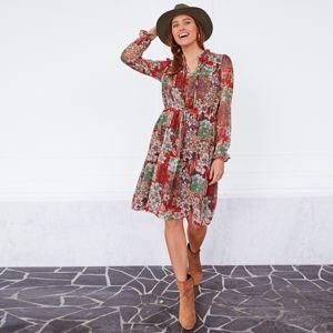 Blancheporte Volánové šaty s květinami khaki/béžová 40