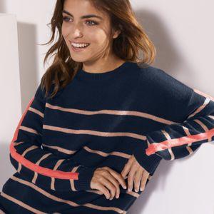 Blancheporte Pruhovaný pulovr kašmírový na dotek nám.modrá/oříšková 42/44