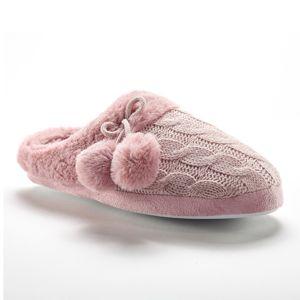 Blancheporte Pletené pantofle se střapci, nepravá kožešina růžová 40