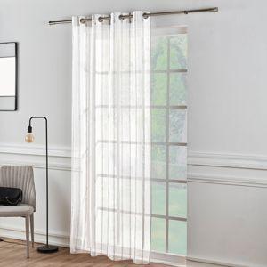 Blancheporte Etamínová záclona s proužky šedá/bílá 140x160cm