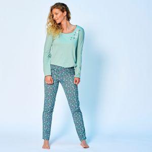 Blancheporte Pyžamové kalhoty s potiskem květin šedozelená 42/44