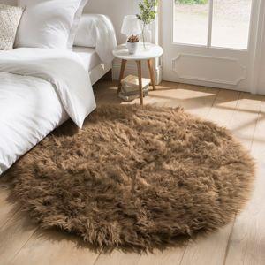 Blancheporte Kulatý koberec s vysokým vlasem hnědošedá pr.70cm