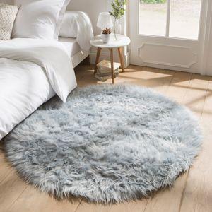 Blancheporte Kulatý koberec s vysokým vlasem ledově modrá pr.70cm