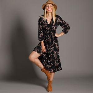 Blancheporte Dlouhé šaty s potiskem, černé černá/růžová pudrová 50