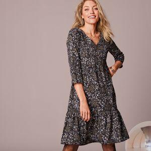 Blancheporte Volánové šaty se zlatým potiskem černá/zlatá 48