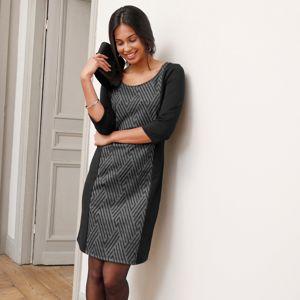 Blancheporte Zeštíhlující šaty z Milano úpletu, grafický design černá/bílá 54