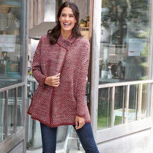 Blancheporte Pruhovaný svetr ve střihu pláště mahagon 54
