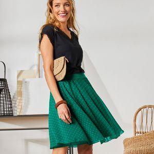 Blancheporte Krátká sukně s výšivkou zelená 34/36