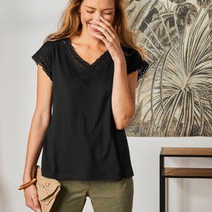 Blancheporte Jednobarevné tričko macramé s krátkými rukávy černá 34/36