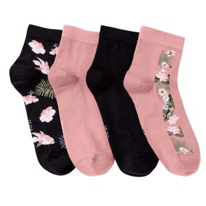 Blancheporte Ponožky se sladěným tropickým vzorem, sada 4 párů černá/růžová 35/38