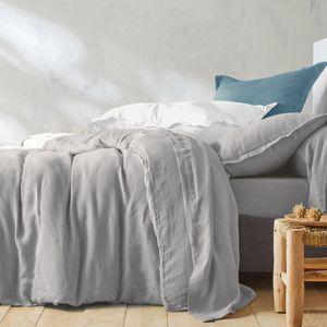 Blancheporte Jednobarevné ložní prádlo, ze lnu v prané úpravě světle šedá povlak na polštář 50x70cm+lem