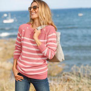 Blancheporte Pruhovaný pulovr s knoflíky korálová/režná 52
