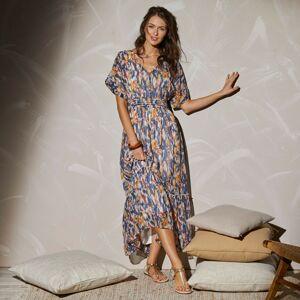 Blancheporte Dlouhé šaty se žabičkováním a potiskem indigo/medová 38