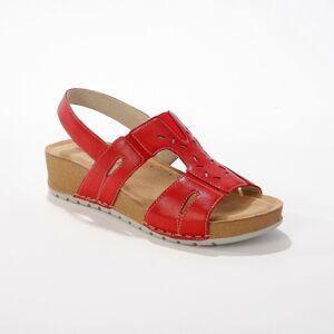 Blancheporte Kožené sandály pro širší chodidla, červené červená 40